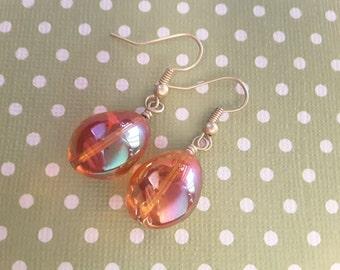 Orange Iridescent Drops . Earrings