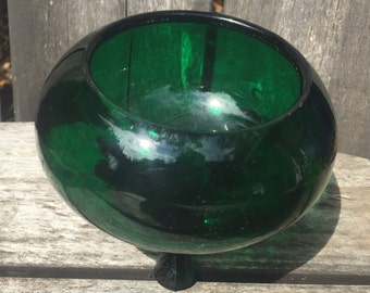 Vintage Emerald Green Glass Bowl Footed