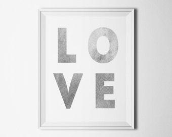 Valentines day decor Love print gray Modern art romantic Valentine print digital Typography poster Home decor wall art Instant download