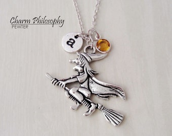 Witch Necklace - Witch on a Broom Pendant - Halloween Jewelry - Monogram Personalized Initial and Birthstone