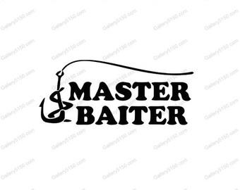 Master Baiter, Wall Decal, Vinyl Lettering, Wedding Sticker, scrolls, Art Sticky Words, Browning Deer