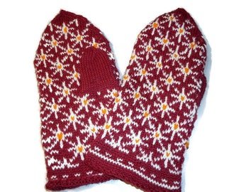 Hand knitted mittens. Red with white pattern. Wool mittens. Warm mittens. Mittens for womens.