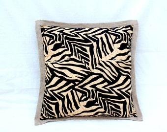 Tan Zebra Print with Hessian Edging