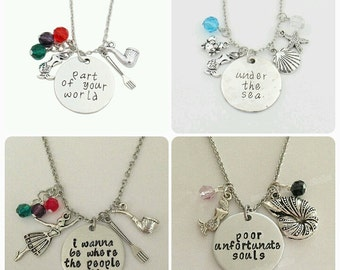 Little mermaid charm necklace