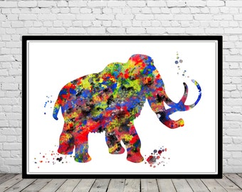 Mammoth, Mammoth from Ice Age, Prehistorical animals, Age of Ice, Watercolor Print,  Art Print, Wall Decor  (2167b)