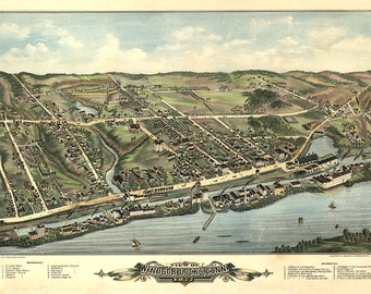 Windsor Locks, Hartford County, Connecticut CT 1877 O.H. Bailey & Co. Vintage reproduction bird's eye view map.