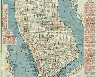 Map of Manhattan South of 63rd Street, New York 1877.  Restoration Hardware Home Deco Style Old Wall Giclee Reproduction.