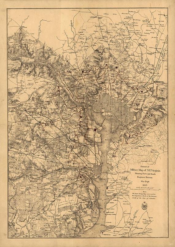 Map Of American Civil War Defenses Of Washington D C 1865
