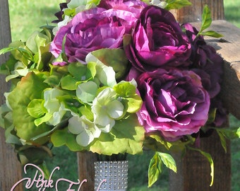 Purple Rose and Hydrangea Silk Bridal Bouquet - NEW Listing!