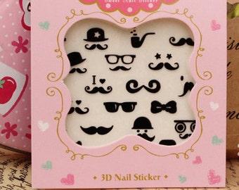 Nail Sticker , mustache nail 2 , nail deco ,Nail Art  ,  nail accessory,nail decoration ,