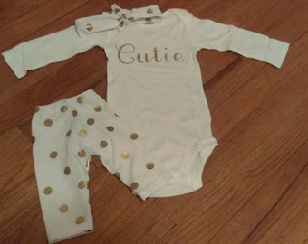 Cutie, 3 Piece Outfit, Newborn, Toddler, Girl,White  Gold Polka Dot Pants, Onesie, Knotted, Headband, Outfit