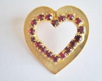 Gold Tone Red Rhinestone Heart Pin
