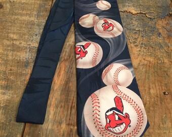 Vintage Cleveland Indians necktie // 1994 Ralph Marlin  // 90s baseball tie // Cleveland Indians tie // Blue mens tie // MLB
