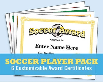 Football certificates templates youth football kid soccer certificates player pack soccer certificates soccer award templates child certificate kid yadclub Gallery