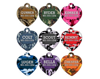 Camo Dog Tag Cat Tag Pet Id Personalized w/ Your Pet's Name & Number