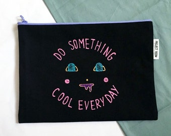 hand painted DO something COOL EVERYDAY canvas clutch bag