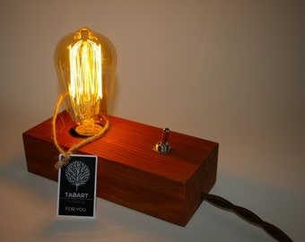 Wood edison lamp