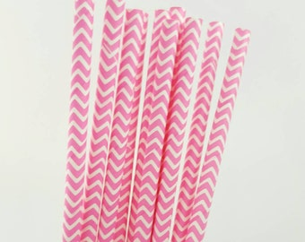 Paper Straws - pink straws - pink chevron straws-colorful paper straws - birthday party straws - 10 count