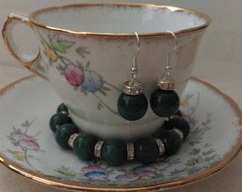 Bracelet and earring set - Teal blue