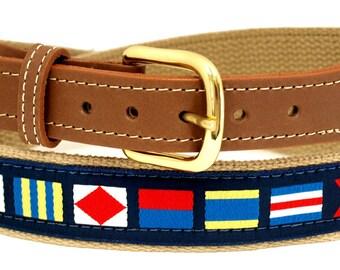 Nautical Code Flag, on Khaki Webbing, Leather Tip Belt
