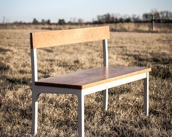 Bench No. 3 • Cherry/Milk Painted Ash Bench