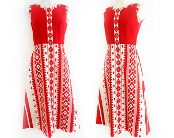Gorgeous red and white aztec print vintage dress by Kaisu Heikkilä, size EU 38 / UK 10 / US 8