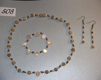 Pearls, shell and silver fashion/costume jewelry set