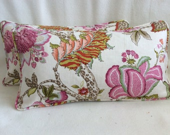 Floral Designer Lumbar Pillow Cover Set - Pink/ Rose/ Natural