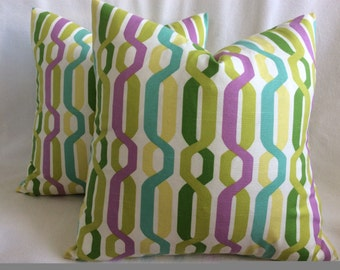 Modern Designer Pillow Covers - 2pc -  Bright Pastels - 20x20 covers