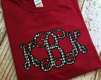 Adult Houndstooth Monogram Applique Shirt