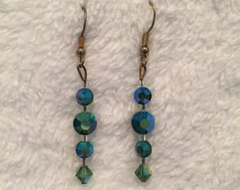 "Aurora Borealis (Blue / Green) Crystal fishwire Earrings - 1&1/2"" drop - 1950's - #17038"