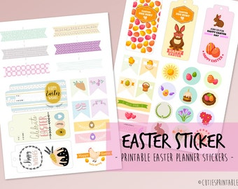 Easter Sticker Kit, Easter Planner Stickers, Easter Stickers, Holiday Planner Stickers, Spring Planner Stickers - Instant download