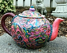unique handmade teapot bright colorful polymer clay collectable decorative artisan teapot home decor bh01869tphd