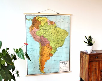 Original Vintage School Map South America 1970