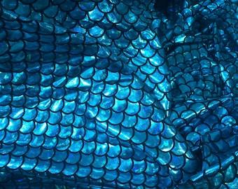"SALE by the yard Mermaid fabric spandex 58"" wide Ariel mermaids blue metalic fabric stretchy knit Yardage bling Fabric soft fab"