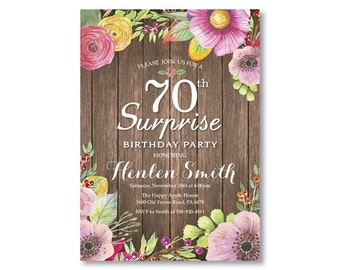 Surprise 70th Birthday Invitation for Women. Rustic Birthday. Watercolor Floral Flower. Pink Purple Yellow. Any Age. Printable Digital.