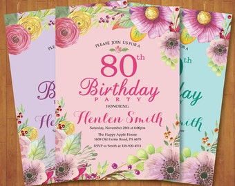 80th Birthday Invitation. Floral Birthday Invitation for Women. Watercolor Floral Flower. Pink Purple Aqua Teal. Any Age. Printable Digital.