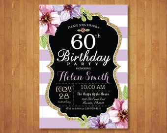60th Birthday Invitation for Women. Purple Watercolor Floral. Purple and White Stripes. 30th 40th 50th 70th 80th Any Age. Printable Digital.