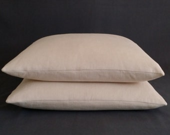"2 Oatmeal Linen Pillows  22"" x 22"""