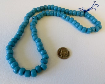 Turquoise Blue Chezck Opaque Glass Beads Strand - Beautiful - #0028