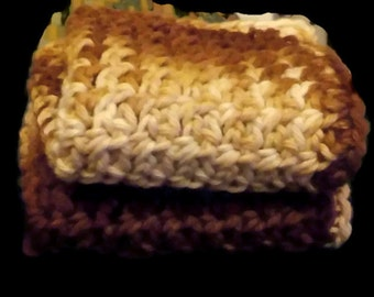 Set of 2 Washcloths, Brown Washcloths, Brown Facecloths, Facecloths, Washcloths, Wash Rags, Brown Facecloths, Crochet Washcloths, Crochet
