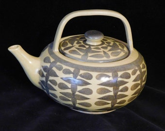 Mid Century Modern teapot-- hand thrown and painted