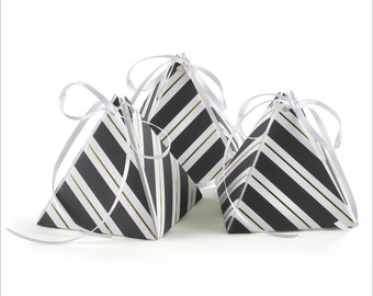"""Black And White Stripe Pyramid Favor Boxes With Thin Stripes Of Gold Foil. A Set of 25 Favor Boxes Include 1/8"""" Wide White Satin Ribbon."""