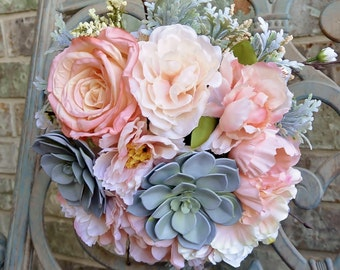 Salmon Succulent Bouquet