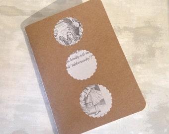 Handmade Alice in Wonderland Recycled Notepad