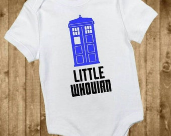 Little Whovian bodysuit, Dr Who bodysuit, tardis bodysuit, doctor who inspired, little whovian baby, baby shower gift, doctor who baby