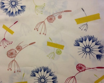 Blue, Red, Pink, Green and Yellow Designs on Cream Background, Cleta, Designed by AGF In-House Studio for Art Gallery Fabrics, 100% Cotton