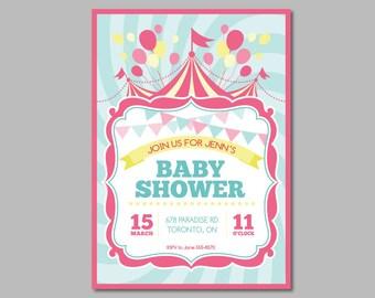 Baby Shower Circus Invitation - 10PK