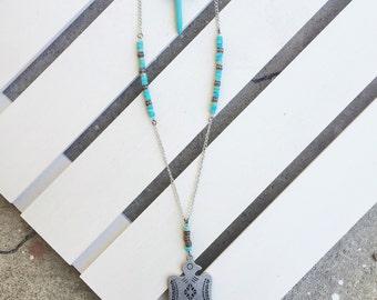Thunderbird Pendant and Turquoise Multi-Strand Necklace