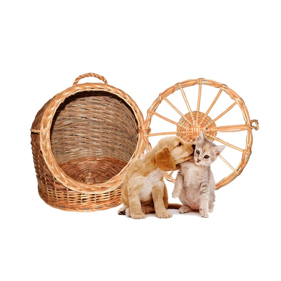 How To Weave A Cat Basket : Pet wicker carrier woven cat dog transport box travel